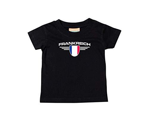 Shirtstown bébé Enfants-Shirt France, Armoiries, Land, Pays - Noir, 24-36Monate