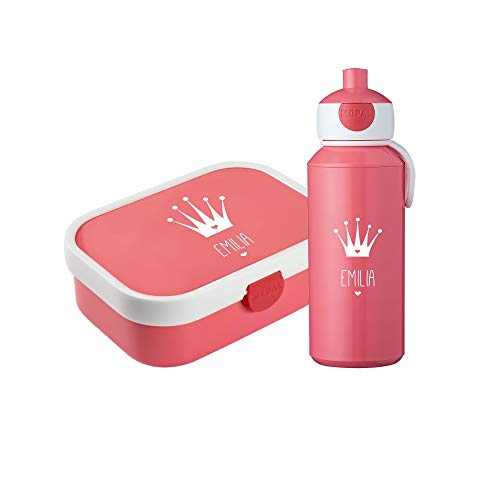 4you Design Set Brotdose & Trinkflasche Krone Silhouette + Name Mepal Campus + Bento Box & Gabel Kindergarten Schule 6 Farben (Pink)