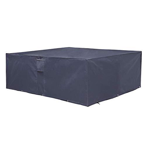 SONGMICS Cubierta para Muebles de Jardín, Funda Protectora Impermeable de Tela Oxford 600D, para Mesa y Sillas de Patio, a Prueba de Decoloración, 242 x 162 x 100 cm, Gris Oscuro GFC96G