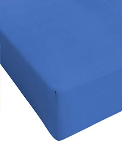 Centesimo Web Shop Lenzuolo sotto Elasticizzato Jersey in 2 Misure Puro Cotone 6 Colori con Angoli con Elastico - Blu - Matrimoniale