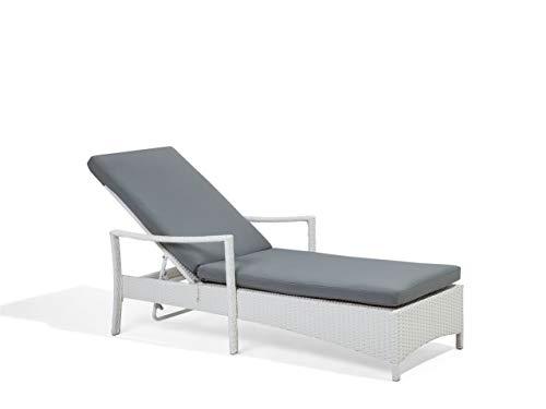 Beliani Praktische Gartenliege verstellbare Rückenlehne Rattan weiß Auflage grau Vasto