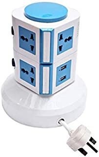 U-POWER 4 Way Multi Functional Vertical Socket, 3 Meter for home, 2 Layers, 7 Sockets, 2 USB, Outlet Plug