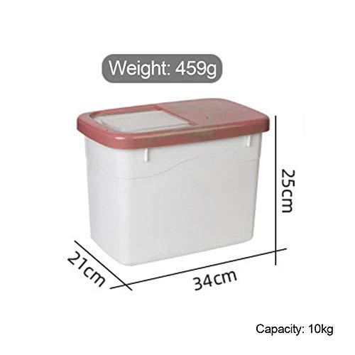 SYSP Rist Airtight Opbergcontainer voor droge levensmiddelen, BPA-vrij plastic bewaardozen toevoer, maatbeker voor granen, bruin, M
