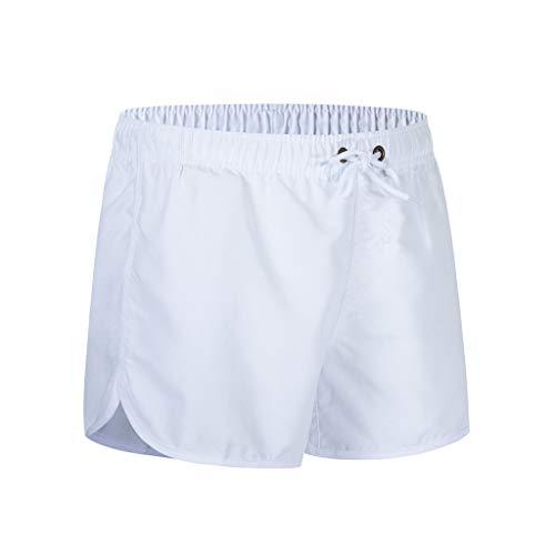 MOTOCO Herren Shorts Badehose schnell trocken Strand Surfen Laufen Schwimmen elastische Taille gespleißt Watershort Hose(2XL,Weiß-2)
