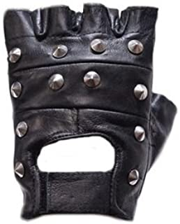 Studded Fingerless Leather Motorcycle Gloves (Size L, LG, Large)