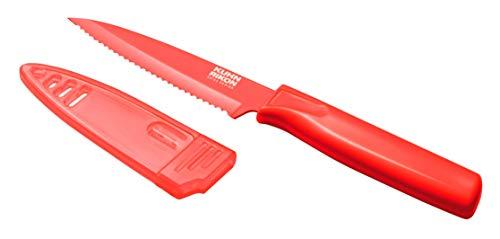 Kuhn Rikon Serrated Paring Knife with Safety Sheath, 4 inch/10.16 cm Blade, Red