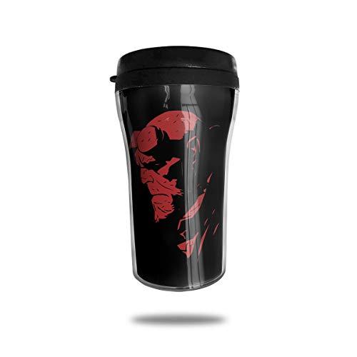 Jldoenh Udjgn Hellboy Taza de café 250 ml Diseño de doble capa Protección Ambiental Portátil.