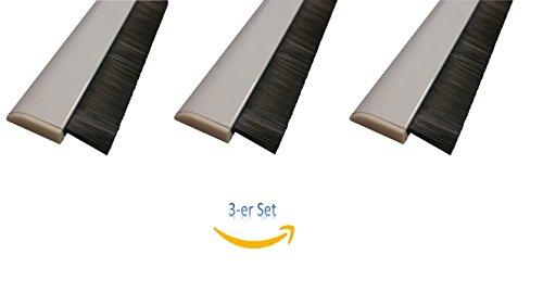 Türbürstendichtung selbstklebend für unebene Böden Türdichtschiene höhenverstellbar Bürste, selbstklebend, weiß (100 cm, Weiß) inkl. automatischer Höhenanpassung [3er Set]