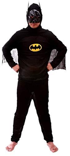 EVRYLON Kostüm Verkleidung Karneval Fledermausmann Superheld Schwarze Farbe Erwachsene Mann Junge Größe M Geschenkidee für Weihnachten und Geburtstag Batman Halloween