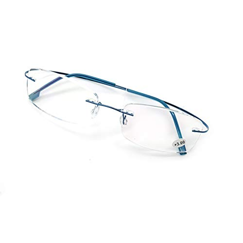 JEEDA Randlose Lesebrille Licht Titan Herren Damen Brille Rimless Reading Glasses 601(Blau,+1.00)