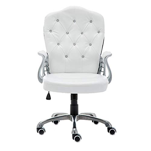 Fubas- Ergonomic Swivel Chair, Swivel PU Leather Lounge Chair, Delicate Rhinestone Inlay, with Fixed Armrests, Non-Slip PU Wheel (White)
