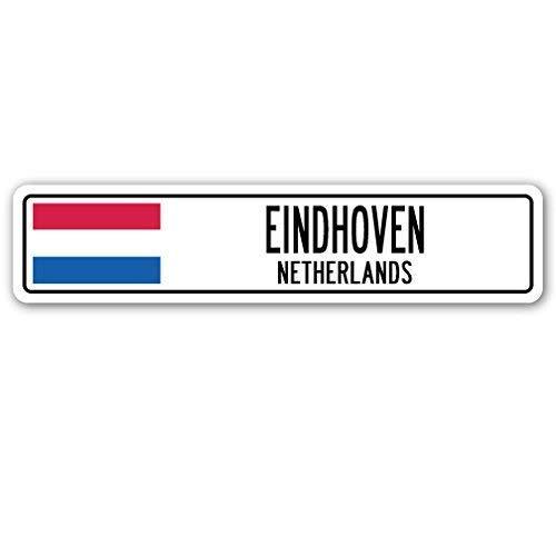 Jeartyca Eindhoven Nederland Straat Teken Nederlander Nederlandse Vlag Stad Land Gift Metalen Teken 45 x 10 Metalen Tekenen Grappig Aluminium Teken voor Garage Home Yard