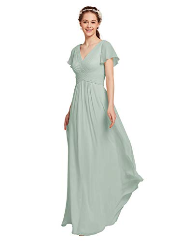 AW BRIDAL Chiffon Sage Green Bridesmaid Dress with Sleeves V-Neck Maxi Dresses for Women Party Wedding Evening Gowns, US10