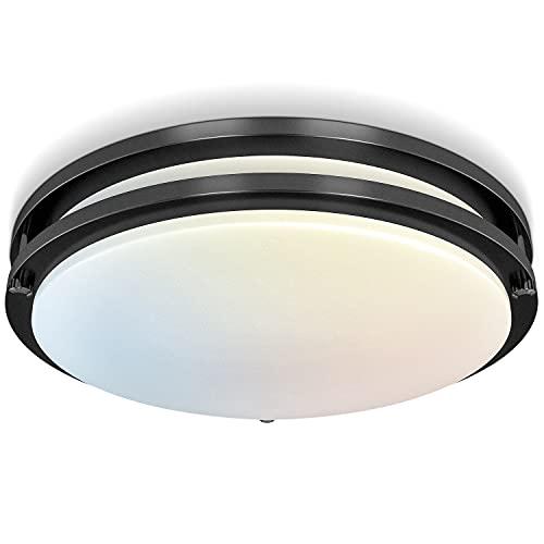 LED Flush Mount Ceiling Light Dimmable, Yogaret 10 inch LED Light Fixture Ceiling Mount 18W[150W Eqv] 3000K/4000K/5000K for Bedroom, Bathroom, Hallway, Kitchen, ETL Listed