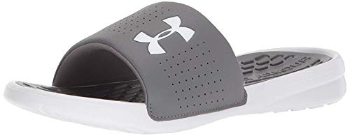 Under Armour Men's Playmaker Fixed Strap Slide Sandal, Graphite (101)/White, 12