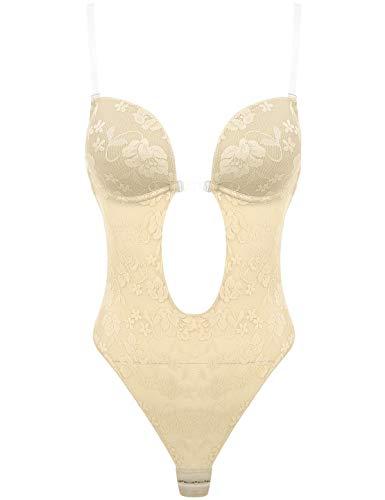 Agoky Damen Formender Body Rückenfrei Unsichtbarer BH Push Up Unterwäsche Bodysuit für Abendkleider, Ballkleider, Brautkleider Creme Spitze 36