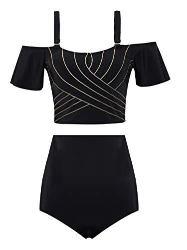 URqvick Women's High Waist Bikini Set Off Shoulder Two Pieces Bathing Suits Vintage Solid Swimsuit Black