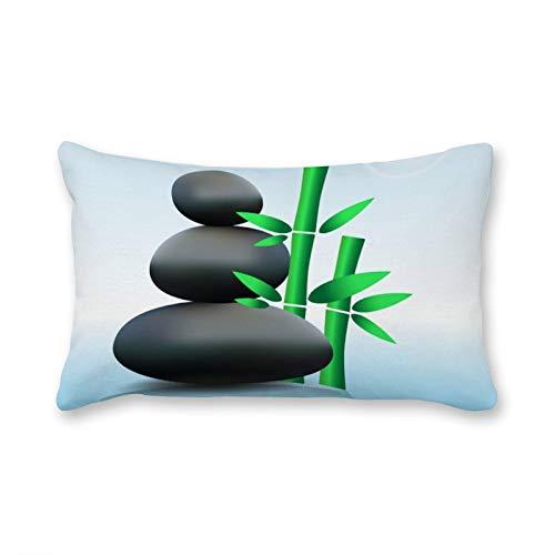 happygoluck1y - Fundas de cojín rectangulares, diseño de piedra zen con bambú sobre lienzo de agua, 30 x 50 cm, decoración para salón o casa de campo para sofá divertido regalo de 2020
