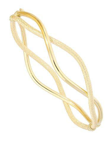 Armreif Armband Steif Gelbgold 375 Gold (9 Karat) Ø 60mm Matt Glanz Design Zwischenräume Reif Anita S-00568-G603-D60mm