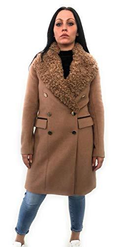 Guess lange mantel met knopen, kleur goud, zijzakken, bont