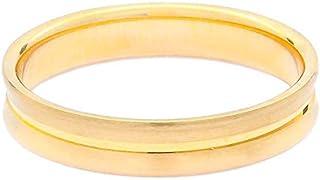 Breuning 18K Yellow Satin & Shiny Finish 0.01ct Round cut Diamond Wedding Ring [BR7130]