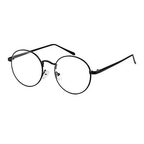 ADEWU Retro Nerdbrille Klassisches Rund Rahmen Glasses Damen Herren (Schwarz neu)