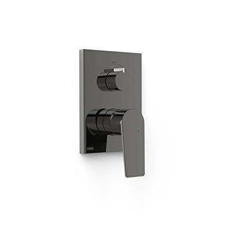Grifo monomando empotrado de 2 vías Rapid-Box para ducha, gama Project-Tres, con cuerpo empotrado incluido, maneta, 6 x 11,8 x 20,5 centímetros, acabado negro metalizado (referencia: 21128001KM)