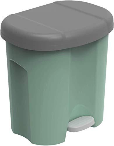 Rotho Duo, Cubo de basura 2x 10l para la separación de residuos con tapa, Plástico PP sin BPA, verde, 2 x 10l 39.0 x 32.0 x 40.5 cm