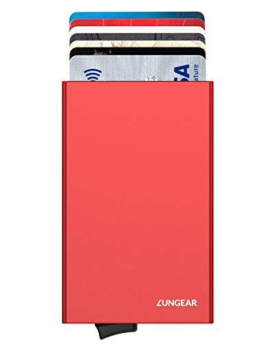 LUNGEAR Tarjetero para Tarjetas de Crédito de Aluminio RFID Bloqueo, Metalico Cartera Tarjetero Mujer con Automática Pop Up para 5 Tarjetas, Rojo