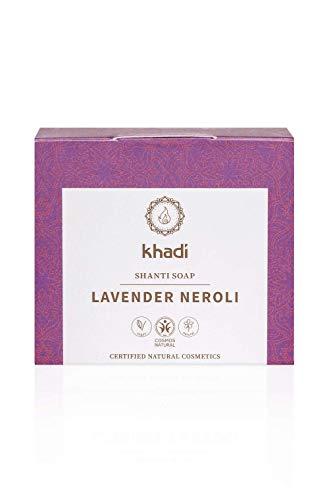 khadi Shanti Soap Lavender Neroli 100 gr I Naturseife mit wertvollem Weizenkeimöl und Lavendel I Naturkosmetik 100% pflanzlich und vegan