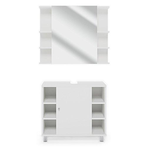 Vicco Badmöbel Set Badezimmermöbel Fynn Spiegel + Unterschrank + Midischrank + Hochschrank (Set 1, Weiß)