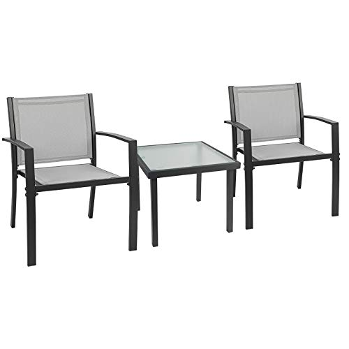 Garden Furniture Set 2 Seater, Indoor Outdoor 3 Piece set Patio Furniture Set, Garden Table and Chair 4 seater, 2 ArmChairs + Glass Coffee Table Suitable for Patio Backyard Poolside (Grey)