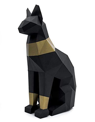 Oh Glam Home Kit DIY Gato Egipcio Papercraft 3D Escultura Origami 3D Puzzle 3D PRECORTADO (Negro, Bronce)