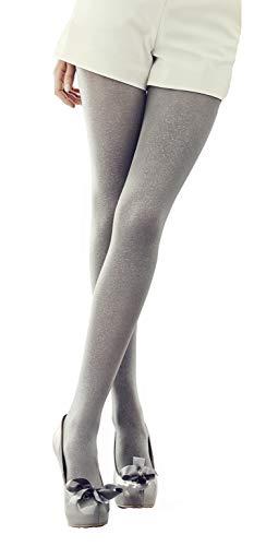 Marilyn mit glitzer Effekt, blickdichte Lurex Strumpfhose, 100 Denier, Größe 40/42 (M/L), Farbe Grau (grey)