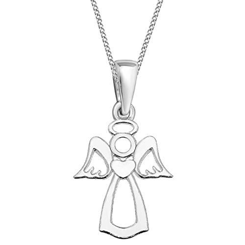 Schutzengel Anhänger mit Kette 925 Echt Silber Kinder Damen Mädchen Engel Halskette (40)