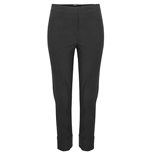 Robell Trousers Bella, pantaloni corti a 7/8, bianchi Nero Black