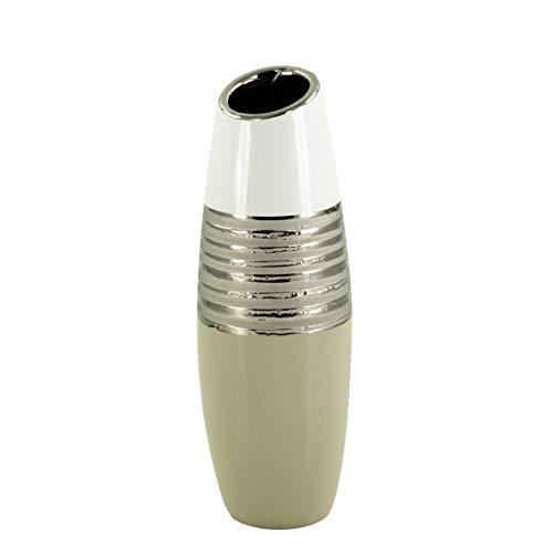 Lifestyle & More Vase décoratif Moderne Vase à Fleur Vase en céramique Blanc/Beige Hauteur 32 cm