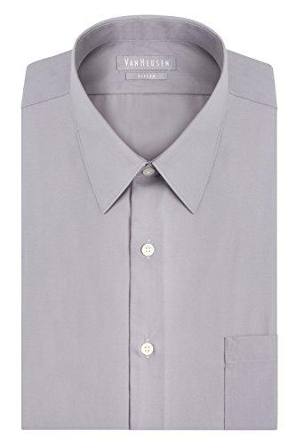 Van Heusen Men's Poplin Fitted Solid Point Collar Dress Shirt, Light Grey, 18' Neck 36'-37' Sleeve