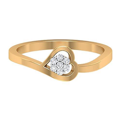 Anillo de corazón antiguo, anillo de boda simple, anillo de clúster de diamantes HI-SI, anillo Love Forever, anillo minimalista, anillo de aniversario, 14K Oro amarillo, Size:EU 66
