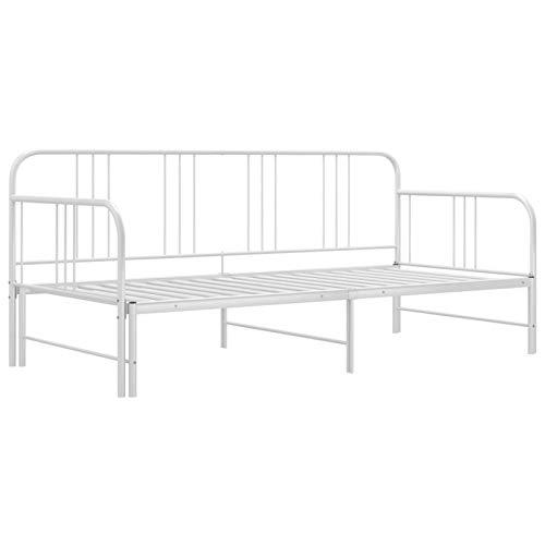 Tidyard Sofá Cama Metálica Diván Cama para Dormitorio Salón Estructura de sofá Cama extraíble de Metal Blanco 90x200 cm