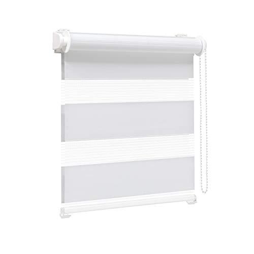 Victoria M. Zevra Estor Doble Enrollable - Estor día y Noche translúcido, 60 x 160 cm, Blanco