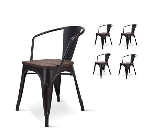 KOSMI - Set di 4 sedie industriali in metallo nero scuro e legno scuro in metallo scuro, seduta e braccioli in legno scuro