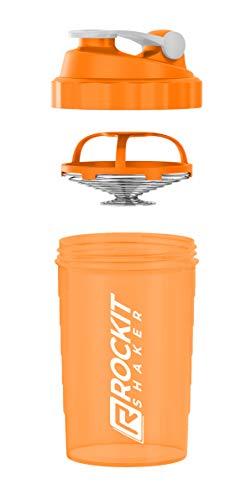Rockitz Premium Protein Shaker 500ml - erstklassige Mischfunktion mit Infusion Sieb - für super cremige Fitness Eiweiß Shakes, Proteinshake Becher,Neon Orange