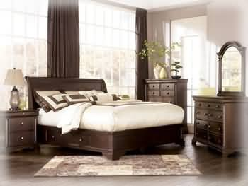 Hot Sale Ashley Leighton King Sleigh Storage Bed in Cherry Finish