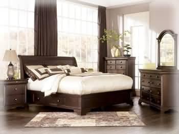 Hot Sale Ashley Leighton Queen Sleigh Storage Bed in Cherry Finish