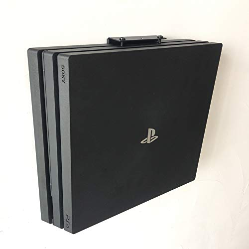 PS4 Pro Wall Mount, PlayStation 4 Pro Mount behind TV, on Wall and under Desk, No Scratches on Your Playstation, Metal Black