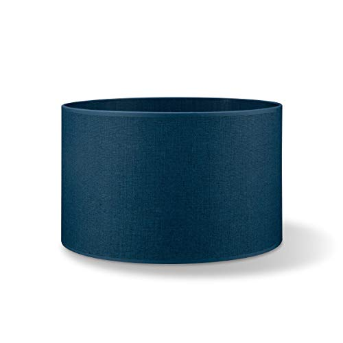 Abat-jour rond | Canvas | Abat-jour en tissu | Abat-jour en coton | Pour E27 douille | diamètre 40cm, hateur 22cm | bleu foncé | Pour tous vos espaces intérieurs IP20 | Hors ampoules |