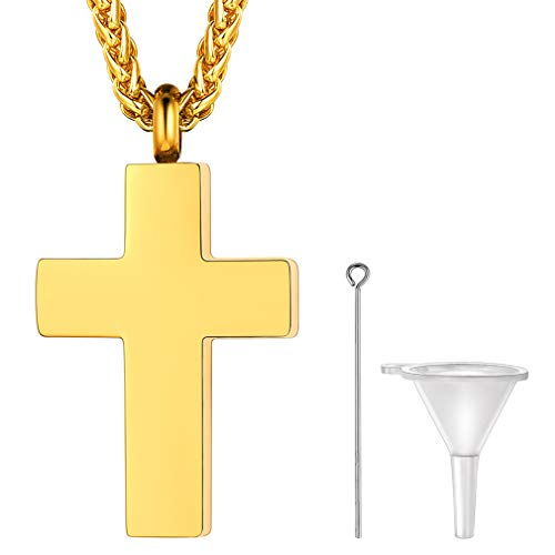 FaithHeart Gold Cross Ashes Urn Necklace for Grandma Stainless Steel Glossy Cross Charm Cremation Pendant Memorial Keepsake Jewellery