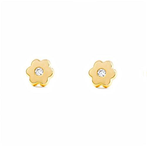 Pendientes Niña Oro Amarillo Flor en circon (9kts)