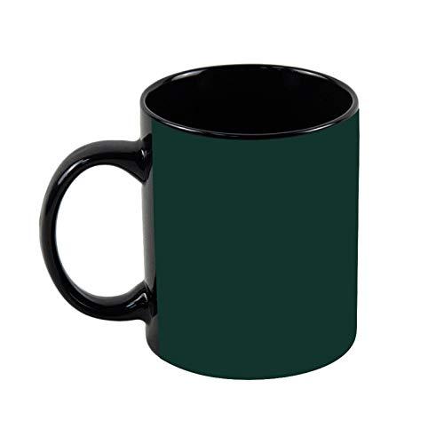 Taza de café negro de color sólido verde negruzco, taza de café de 325 ml, taza de café y té de cerámica única, regalo de Navidad para ella, regalo de amigo